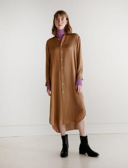 Auralee Silk Satin Georgette Dress - Brown