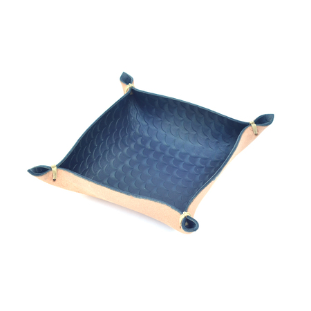 Made Solid Stamped Laced Tray - Indigo