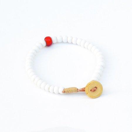 Vintage Antique African Trade Bead Bracelet - White/Red