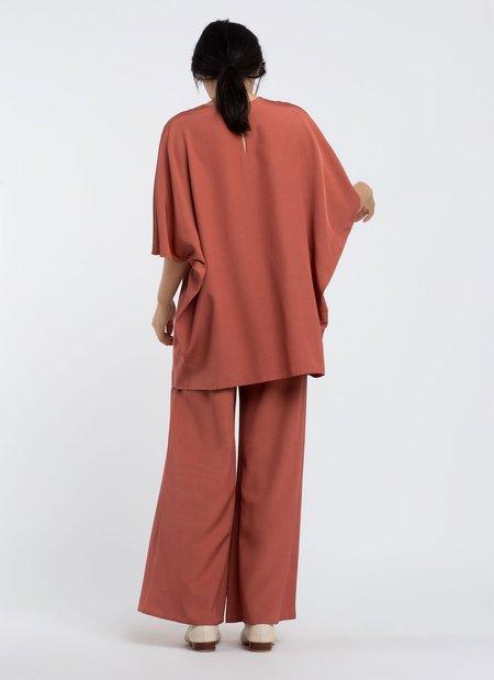 KAAREM Kite Round Neck Silk Tunic Top - Terracotta