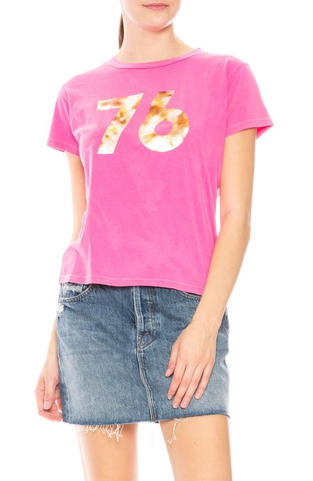 Mother Denim 76' Boxy Goodie Goodie T-Shirt - Hot Pink