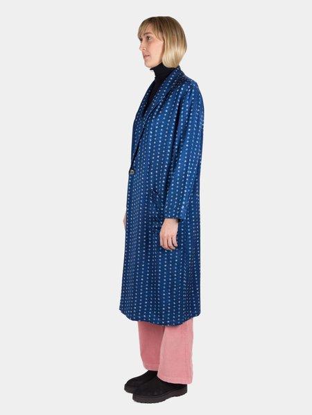 """Blue Blue Japan Woven """"Komon"""" Pattern """"Bassen"""" Gown Coat - Balloon Flower"""