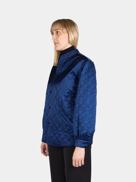 Blue Blue Japan Woven Quilted Satin Stand Collar Jacket - Indigo
