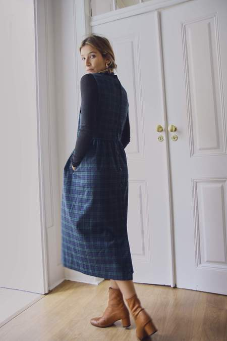 Bird On A Wire Vintage Checked Virgin Wool Pinafore Dress