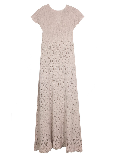 Ryan Roche Bottom Ruffle Dress - Sand Pink