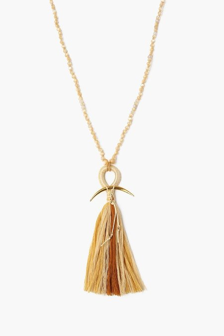 Chan Luu Horn and Tassel Natural Mix Layering Necklace