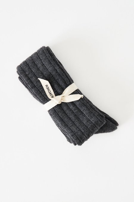 A Détacher Alpaca Ribbed Socks - Grey
