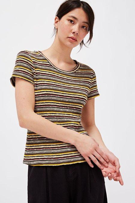 Lacausa Rib Baby Tee - Tiger Lily Stripe