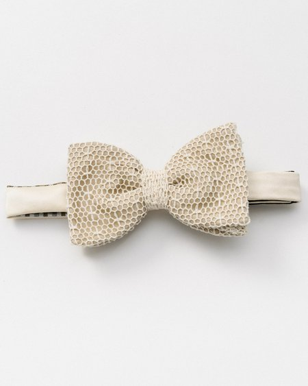 Marwood White Mesh Lace Bow Tie