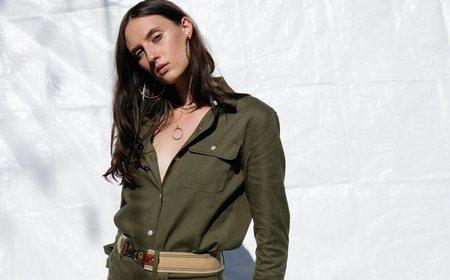 Roberta Georgia Button Down - Mountain Green