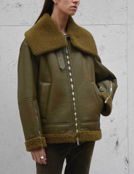 Twins Florence Shearling Aviator Jacket - Olive Green