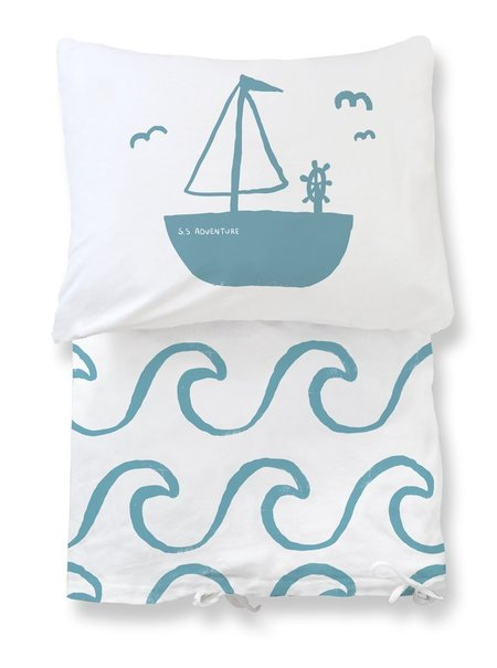 KIDS Natti Natti Big Waves Twin Duvet Set - BLUE