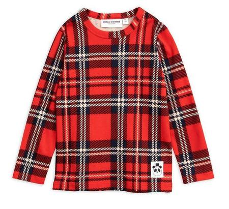 KIDS Mini Rodini Check Long Sleeve Tee - RED