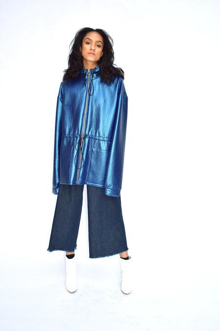 Goncalo Peixoto Hooded Jacket with Elastic Waist - Blue