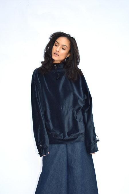 Goncalo Peixoto Velvet Hooded Sweater - Navy