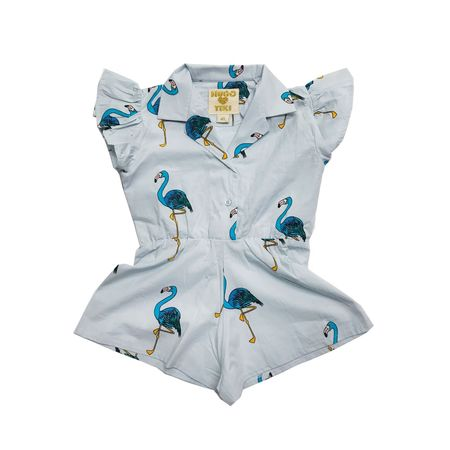 KIDS Hugo Loves Tiki Flamingos Ruffled Romper - BLUE