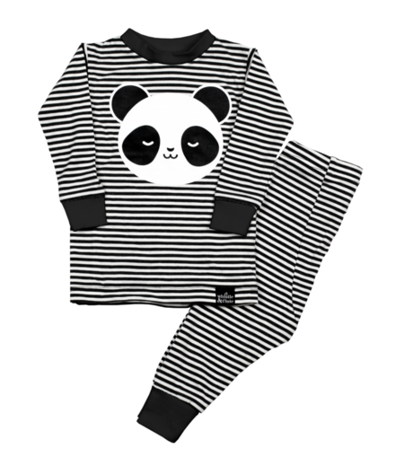 KIDS WHISTLE & FLUTE Kawaii Sleepy Panda Pajama Set - BLACK