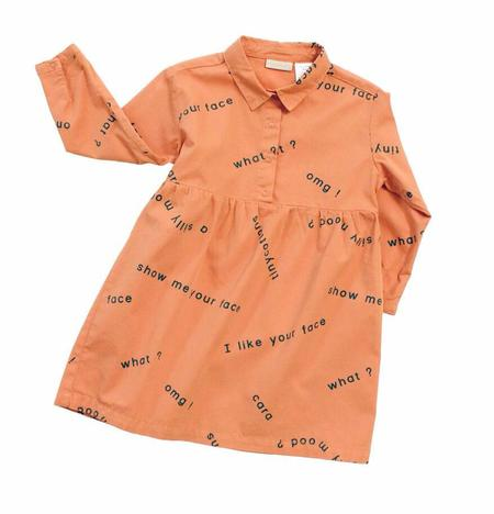 KIDS Tinycottons Many Words Dress - ORANGE