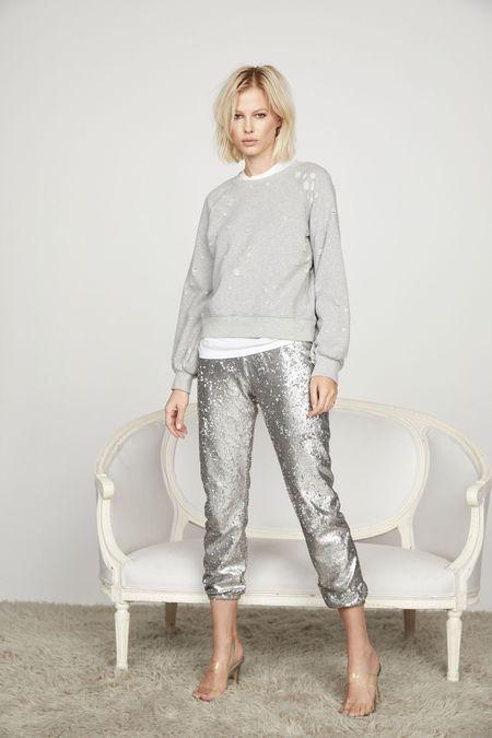 David Lerner Sequin Lounge Jogger - Silver Glitter