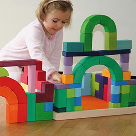 KIDS Grimm's Set Of 62 Romanesque Wooden Building Blocks - Rainbow