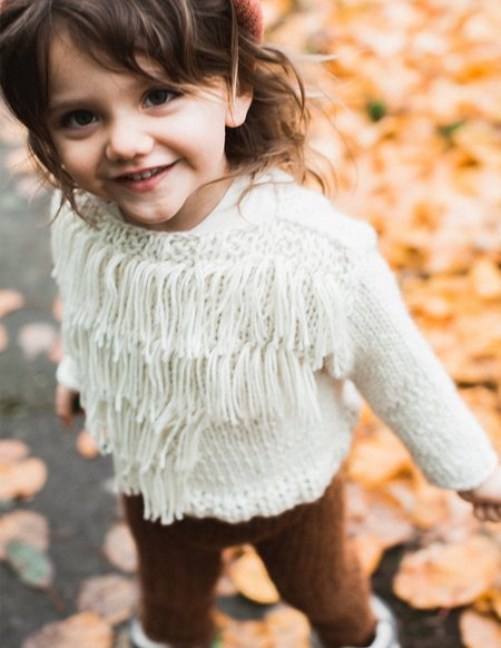 Kids Kkibo Baby Fringe Sweater - Cream