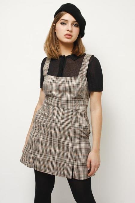 CAPULET LENNOX MINI DRESS - CREAM TARTAN