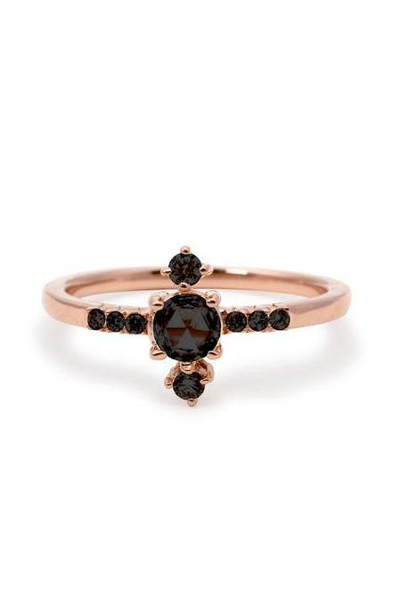 S/H Koh Yours Only Rose Cut Line Diamond Ring - Black