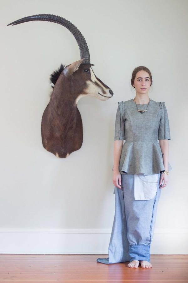 Alexa Stark Short-sleeve Denim Peplum Shirt
