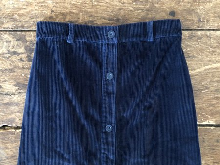 First Rite Corduroy Buttoned Skirt - Navy