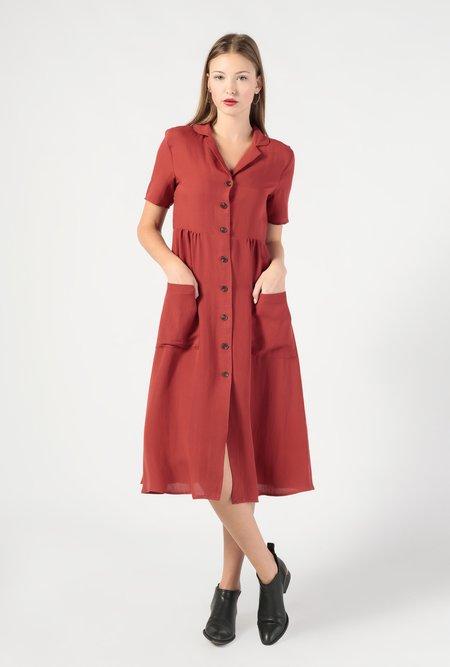 Azalea Collared SS Button Down Midi Dress - Burnt Red