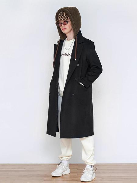 Unisex AGENDER Hoodie Double Long Coat - Black