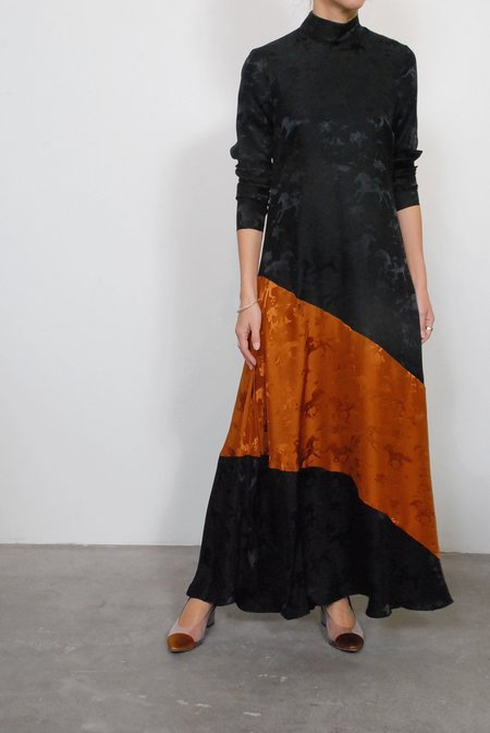Ganni Silk Jaquard Maxi Dress - Black