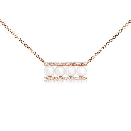 J. Luu Pearl and Diamond Bar Necklace - Rose Gold