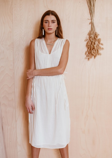 SITA MURT pleated dress - CREAM