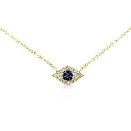 J. Luu Diamond and Sapphire Evil Eye Necklace - Yellow Gold