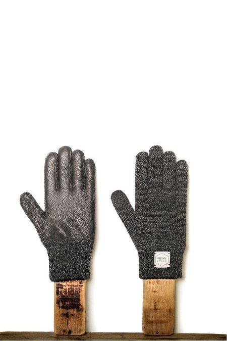 Upstate Stock Black Melange with Black Deerskin Full Glove