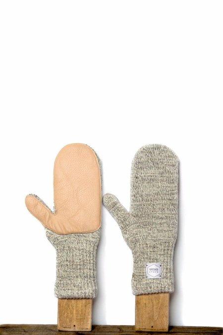 Upstate Stock Ragg Wool Mitten with Natural Deerskin - Oatmeal Melange