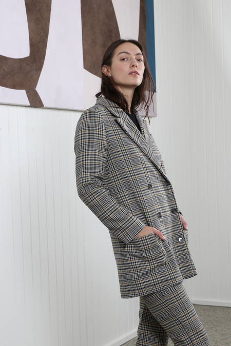No.6 Andy Double Breasted Blazer - Cream/Mustard/Navy Plaid