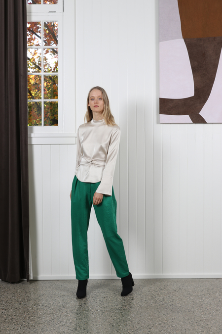 No.6 Justin Pleated Pant - Emerald