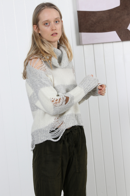 NSF Odelia Turtleneck Sweater - Soft White/Light Heather