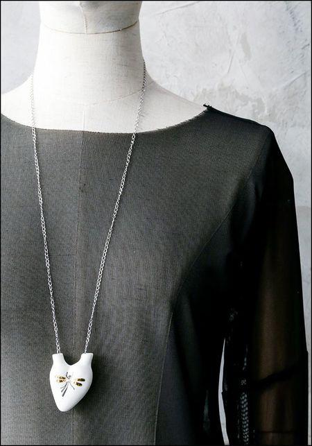 FOS Beetle Porcelain Heart Necklace