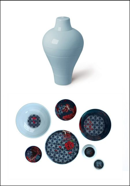 Ibride Blue Abysses Ming Stacking Bowl Set