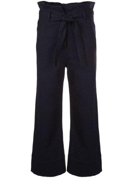 Kamperett Lennon Paperbag Pant - Navy Pinstripe