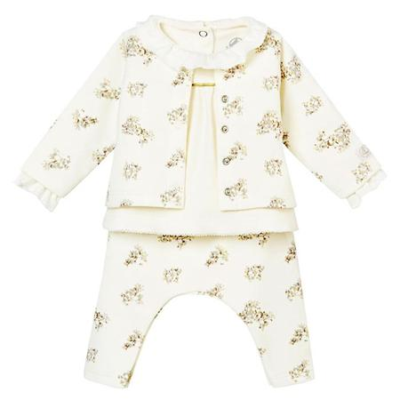 38903e538 ... KIDS Petit Bateau Baby Three Piece Set Cardigan, Pants And Bodysuit -  White With Grey
