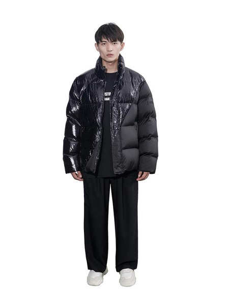 CHRISTOPHER RAXXY Hole Deconstructed Oversized Down Coat - Black