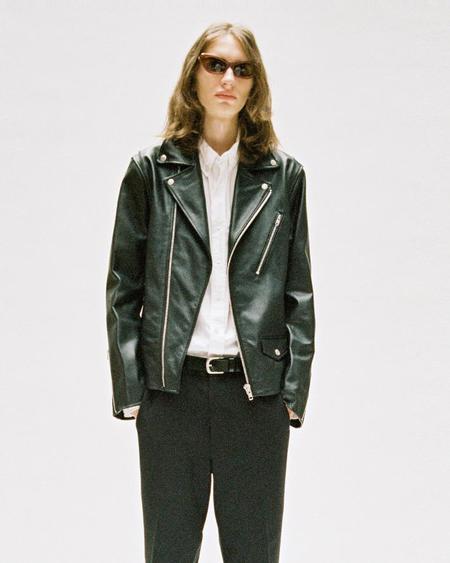 Vivastudio Classic Leather Rider Jacket - BLACK