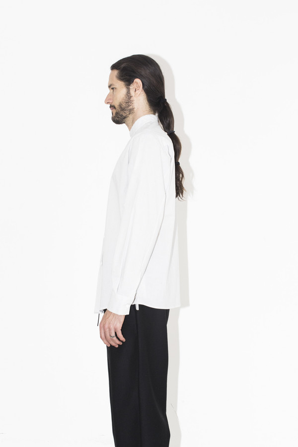 Men's Assembly New York Pinstripe No Collar Shirt