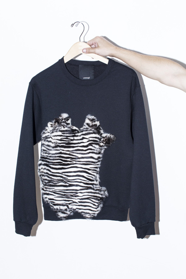 Men's Assembly New York Zebra Fur Sweatshirt
