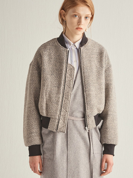 HALEINE Bomber Wool Knitting Jacket - Grey/Brown