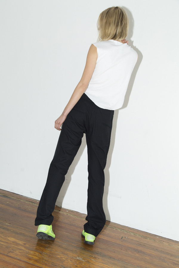 Black Cotton Gather Pant
